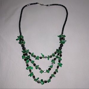 Marcasite Green Beaded Necklace
